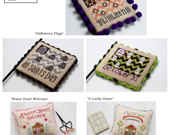HODGEPODGE COTTAGE Cross Stitch Pattern by Breanna Stewart: Halloween Flags - Warm Heart Welcome - A Lucky Home - Ornaments - Scissor Fob