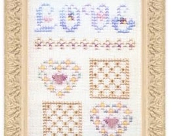 Skinny Mini Love Sampler - Cross Stitch Kit CHARLAND DESIGNS with Sterling Silver Heart Charm & Threads - Hearts - Valentine - Wedding