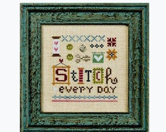 A Little Stitch - Cross Stitch Kit by LIZZIE KATE #K95 - Includes the linen and charm - Sayings - Sampler