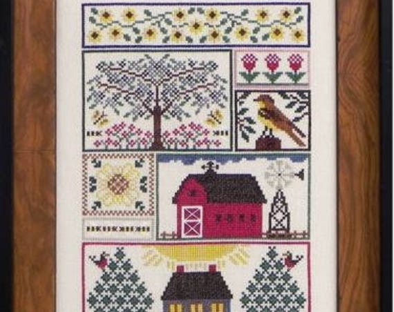 Sunflower Serenade - Cross Stitch Pattern by BLUE RIBBON DESIGNS -  Sampler - Needlework Smalls - Scissor Fob - Barn - House - Trees - Bird