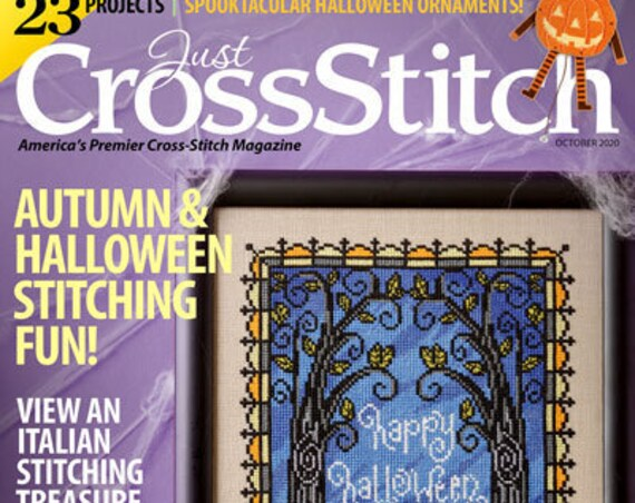 JUST CROSS STITCH Magazine: September/October Issue 2020 - Autumn Fall - Halloween Ornament - Jack O Lantern - Turning Leaves - Owl