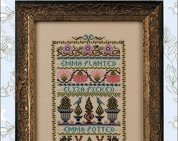 SALE - Emma & Eliza In the Garden Sampler - Cross Stitch Pattern by JUST NAN Includes Beads - Topiary - Flowers