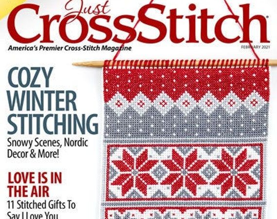 Just Cross Stitch Magazine - January February 2021 Issue - Needlework - Sampler - Bird - Latte - Snowman - Gnomes - Heart - Blackwork