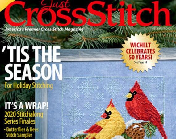 JUST CROSS STITCH Magazine: November - December 2020 Issue - Sampler - Cardinal - Birds - Christmas - Thanksgiving - Snowman - Ornament