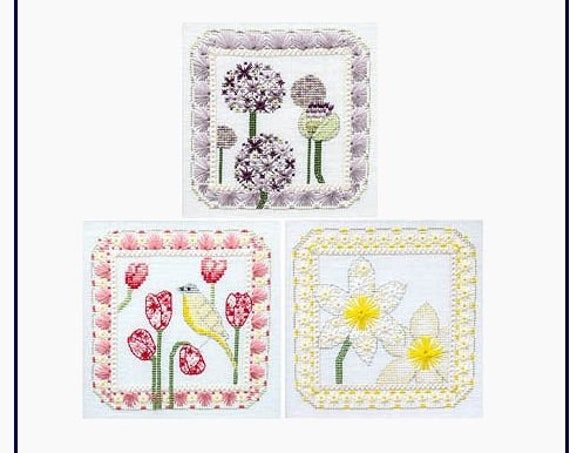 Spring Trio - Cross Stitch Pattern by CHERRY LANE DESIGNS Flowers - Daffodils - Tulips - Allium