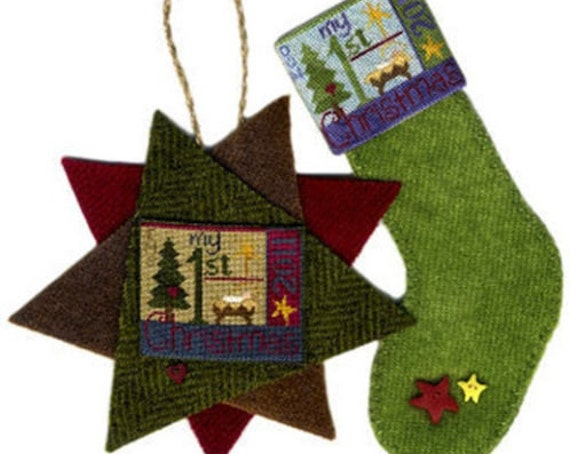 SALE 50% off Original Price - My 1st Christmas - Cross Stitch Pattern & Silk Gauze by ERICA MICHAELS - Baby's First - Stocking - Petit Point
