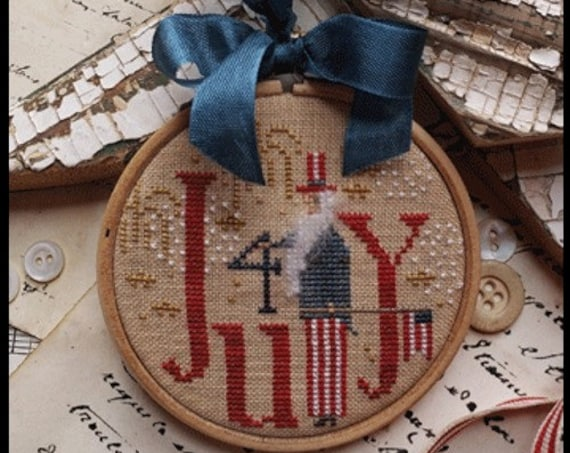 Holiday Hoopla Series:  4th of July - Cross Stitch Pattern by WITH THY NEEDLE & Thread / Country Stitches - Patriotic - usa - Uncle Sam
