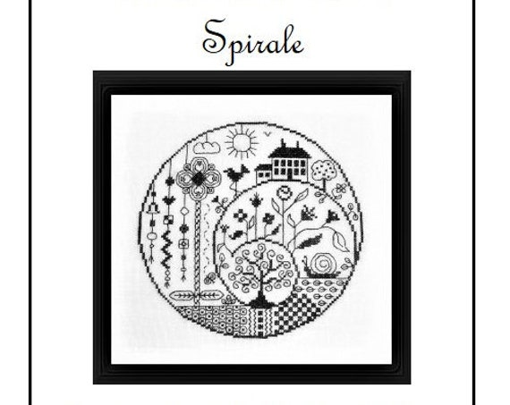 Spirale - Cross Stitch Pattern by JARDIN PRIVE - Nathalie Cichon - Spiral - Houses - Flowers - Landscape - Blackwork - Redwork