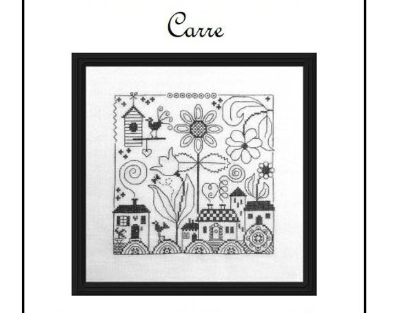 Carre' - Cross Stitch Pattern by JARDIN PRIVE - Nathalie Cichon - Houses - Flowers - Landscape - Village - Blackwork - Redwork