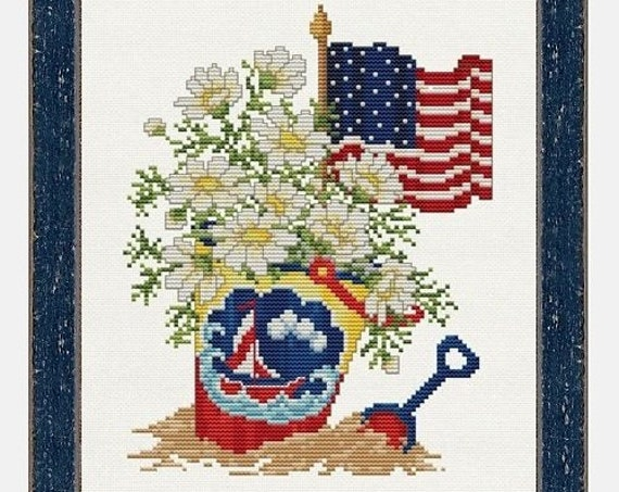 Summer Time - Cross Stitch Pattern by SUE HILLIS DESIGNS - Summertime - Sand Bucket - Beach - American Flag