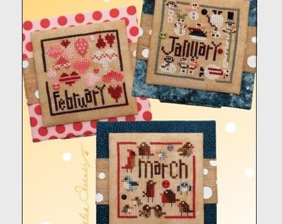 Square Dance:  January - February - March - Cross Stitch Pattern HEART IN HAND Needleart - Winter - Snowman - Snowmen - Hearts - Valentine