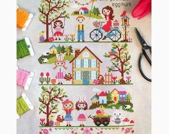 Let's Go On An Egg Hunt - Cross Stitch Pattern by TINY MODERNIST - Easter - Spring - Children - Easter Eggs - Easter Bunny