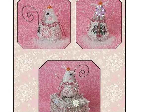 Crystal Snowlady Mouse - Cross Stitch Pattern by JUST NAN - Includes Embellishments - Winter - Snow Mouse - Needlework Small JNLECSM