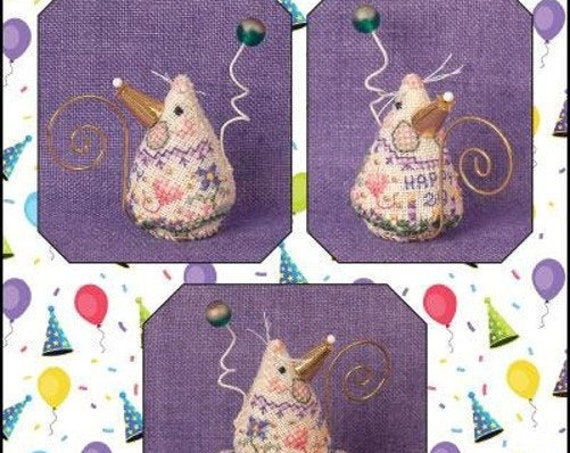 Birthday Mouse - Cross Stitch Pattern by JUST NAN - Includes Embellishments - Limited Edition -Ornament - Needlework Small JNLEBM