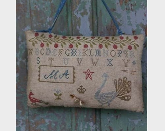 Fancy Peacocks Hanging Pinkeep - Cross Stitch Pattern by STACY NASH PRIMITIVE Designs - Pin Cushion - Needlework Small - Alphabet