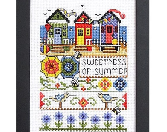 Sweetness of Summer - Cross Stitch Pattern by BOBBIE G. DESIGNS - Sampler - Beach House - BeeHive - Bee Skep