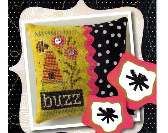 Buzz - Cross Stitch Kit by LIZZIE KATE #K78 - Includes the linen and buttons - Pincushion - Bee Hive - Beeskep - Bumblebee