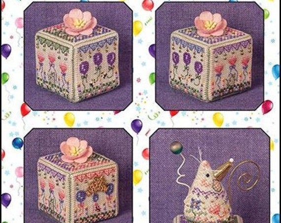 Birthday Garden Cube - Cross Stitch Pattern by JUST NAN - Includes Embellishments - Limited Edition -Ornament - Needlework Small JN317