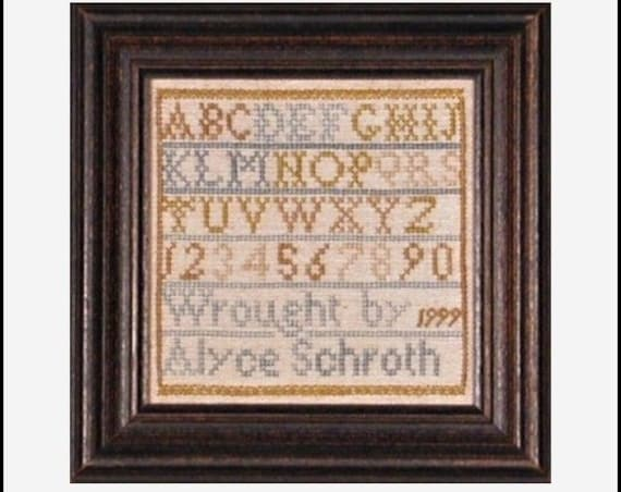 18th Century Miniature Marking Sampler - Cross Stitch Kit Alyce Schroth - The Heritage Collection Recreation - Natural Dyed Silks on Linen