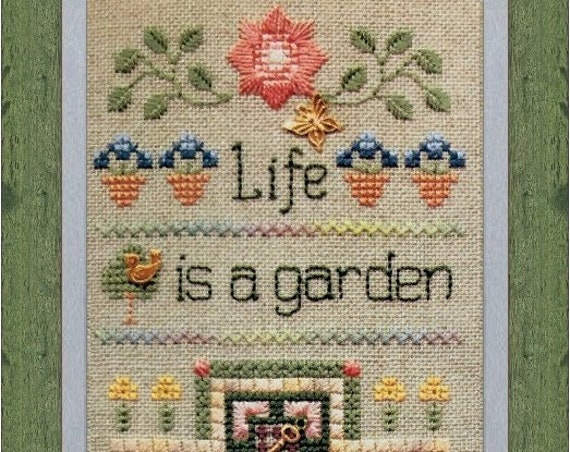 Life is a Garden, Stop and Smell the Roses - Cross Stitch Kit by ELIZABETH'S DESIGNS - Flowers & Friends Stitching Club - Flowers