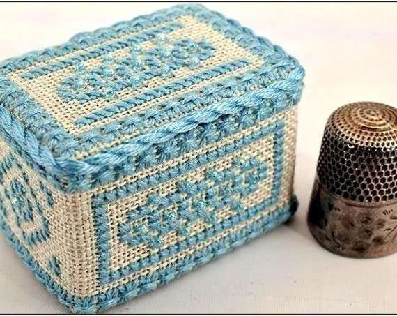 March Aquamarine - Thimble Box Treasures Birthstone Series Cross Stitch Kit by NOTEWORTHY NEEDLE Includes Bamboo Snap-Together Box!