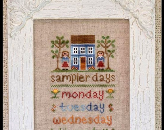 SALE** Sampler Days - Cross Stitch Pattern by COUNTRY COTTAGE Needleworks - Days of the Week - Blue House