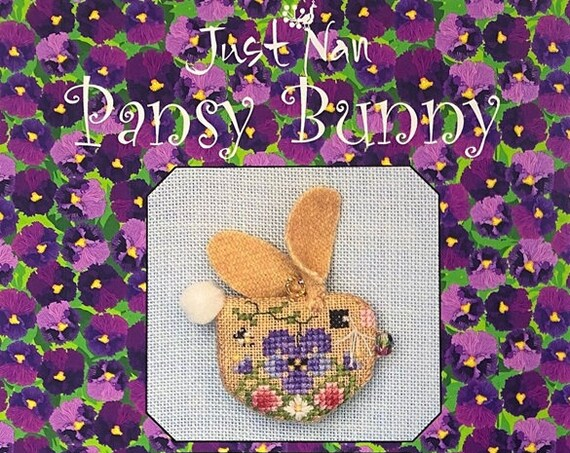 Pansy Bunny - Cross Stitch Pattern by JUST NAN - Includes Embellishments - Limited Edition - LEPB - Needlework Small