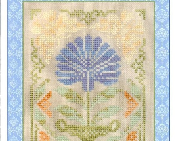 Summertime - Simple Samplers Series - Cross Stitch Pattern by ELIZABETH'S DESIGNS - Blue Flower - Floral - Summer