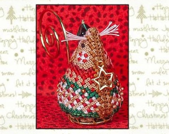Gingerbread Elf Mouse - Cross Stitch Pattern/Kit by JUST NAN Includes Embellishments - Christmas - Needlework Small - Ornament