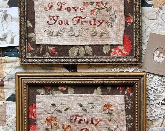 I Love You Truly (Truly Dear) - Cross Stitch Pattern by HEARTSTRING SAMPLERY - Sayings - Primitive Needlework