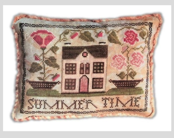 Summer Time - Cross Stitch Pattern by ABBY ROSE DESIGNS - PIncushion - Pin Cushion - Pillow Sampler - Flowers - White House