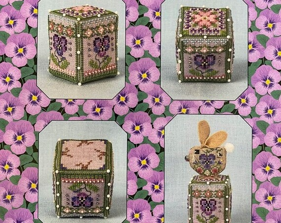 Pansy Rose Cube - Cross Stitch Pattern by JUST NAN - Includes Bead Pack - JN322 - Needlework Small