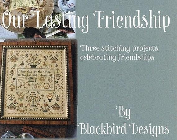 Our Lasting Friendship - Cross Stitch Pattern by BLACKBIRD DESIGNS Sampler - Pincushion - Needlework Small