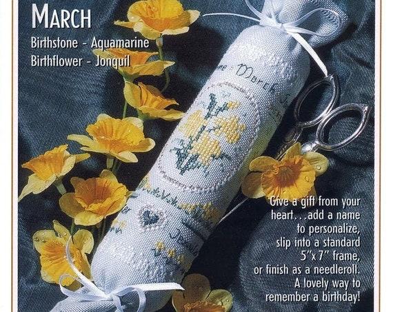 "The Victoria Sampler - Birthday Needleroll Kit ""March"" - Birthstone Aquamarine - Birthflower Jonquil - Cross Stitch Kit - Needlework Small"