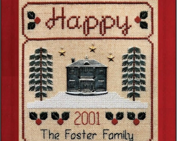 Happy Holidays - Cross Stitch Pattern by ELIZABETH'S DESIGNS - Christmas Sampler - Flowers & Friends Stitching Club Series