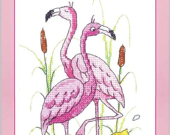 Flamingos - Cross Stitch Kit by HERITAGE CRAFTS Karen Carter Collection - Pink Flamingos