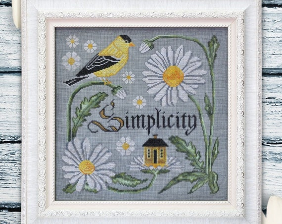 There is Beauty in Simplicity - Cross Stitch Pattern by COTTAGE GARDEN SAMPLINGS - The Songbird's Garden Series #9 - Goldfinch - Daisies