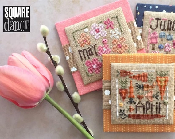 Square Dance:  April - May - June - Cross Stitch Pattern by HEART in HAND NEEDLEART - Spring Designs - Flowers - Carrots - Needlework Smalls