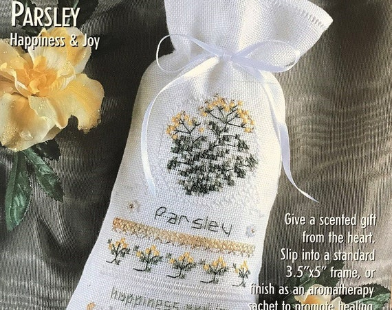 Herbal Sachet Cross Stitch Kit:  Parsley - by THE VICTORIA SAMPLER - Happiness & Joy - Needlework Smalls