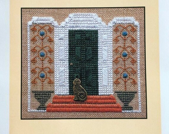 The Green Door - Cross Stitch Pattern by ELIZABETH'S DESIGNS - Little Leaf Designs Series - Includes the cat charm!