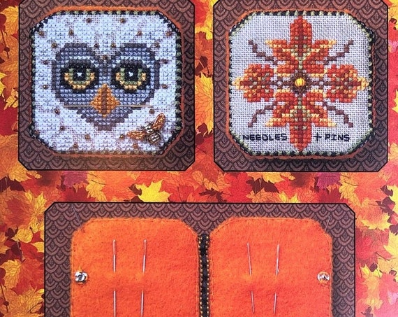 Bumble & Hoot Needle Book - Cross Stitch Pattern by JUST NAN Autumn Fall Needlework Small - Embellishments Included - Owl - Bee