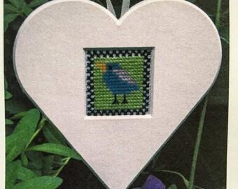 Funny Bird Heart Cut-Out - Cross Stitch Kit by SCANDINAVIAN STITCHES - Bluebird - Blue Bird