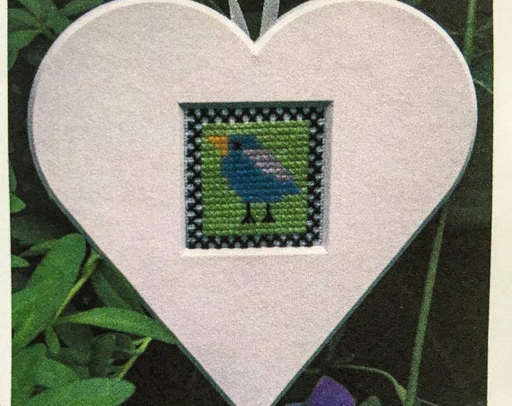 Funny Bird Heart Cut-Out - Cross Stitch Kit by SCANDINAVIAN STITCHES - Bluebird - Blue Bird