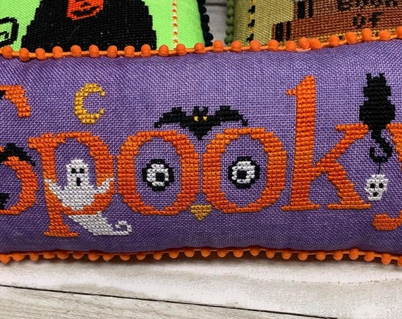 Spooky - Cross Stitch Pattern by NEEDLE BLING DESIGNS - Mini Halloween Series #1 - Ghost - Black Cat - Bat