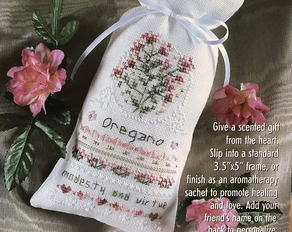 Herbal Sachet Cross Stitch Kit:  Oregano - by THE VICTORIA SAMPLER - Modesty & Virtue - Needlework Smalls