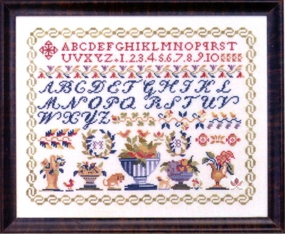 Antique Vases Sampler - Cross Stitch Pattern by JBW DESIGNS - Alphabet - ABCs - Flowers - Urn