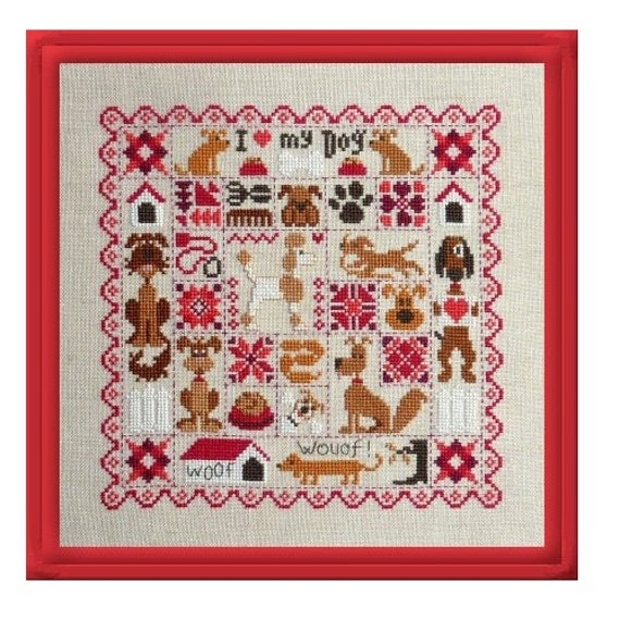 Patchwork aux Chiens - Patchwork with Dogs - Cross Stitch Pattern by JARDIN PRIVE Sampler of Dogs,Love my Dog