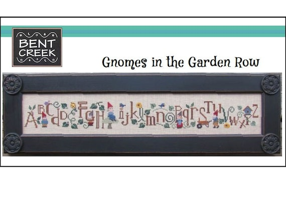 Gnomes in the Garden Row - Cross Stitch Pattern by BENT CREEK - Alphabet Sampler