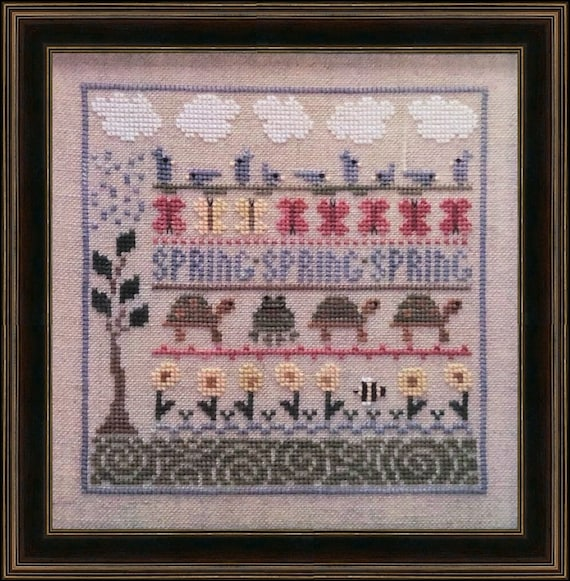 Spring LineUp - Cross Stitch Pattern THE TRILOGY - Spring Sampler - Turtles - Flowers - Bees - Line Up