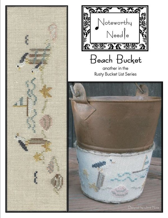 Beach Bucket - Cross Stitch Pattern by NOTEWORTHY NEEDLE - Rusty Bucket Series - Seagull - Summer - Shells